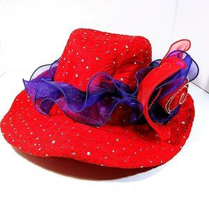 Womens Wide Brim Hat Red Hat Society Purple Bow
